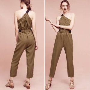 Anthro | maeve verano green one shoulder jumpsuit